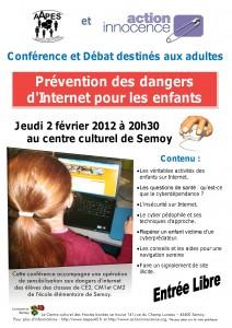 """Affiche de la conférence """"Prévention des dangers d'internet pour les enfants"""""""