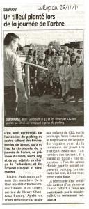 Article de la République du centre sur la journée de l'arbre à Semoy