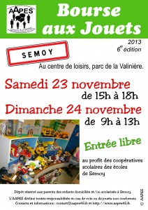 Affiche de la Bourse aux jouets de l AAPES 2013